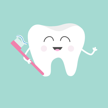 Tooth holding toothbrush with toothpaste. Cute funny cartoon smiling character. Children teeth care icon. Oral dental hygiene. Tooth health. Baby background. Flat design. Vector illustration