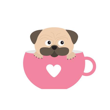 fregonas perro del barro amasado que se sienta en la copa de la pata de color rosa con el corazón. personaje lindo. Diseño plano. Aislado. Fondo blanco. ilustración vectorial