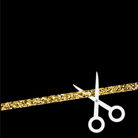 inaugural: Scissors cut the straight ribbon. Flat design style. Gold sparkles glitter Black background Vector illustration. Illustration
