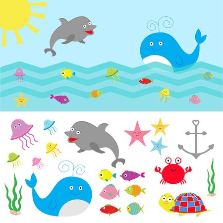 estrella caricatura: Fauna animal de mar del océano establecen. Peces, ballenas, delfines, tortugas, estrellas, cangrejos, medusas, ancla, algas marinas, las olas colección personaje lindo Diseño plano ilustración vectorial aislado