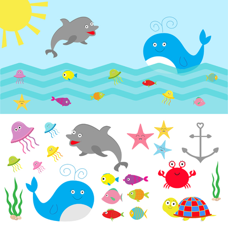 cartoon whale: Sea ocean animal fauna set. Fish, whale,dolphin, turtle, star, crab, jellyfish, anchor, seaweed, waves Cute cartoon character collection Isolated Flat design Vector illustration Illustration