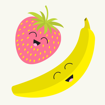 fruit illustration: Banana and strawberry. Happy fruit set. Smiling face. Cartoon smiling character with eyes. Friends forever. White background. Flat design. Vector illustration