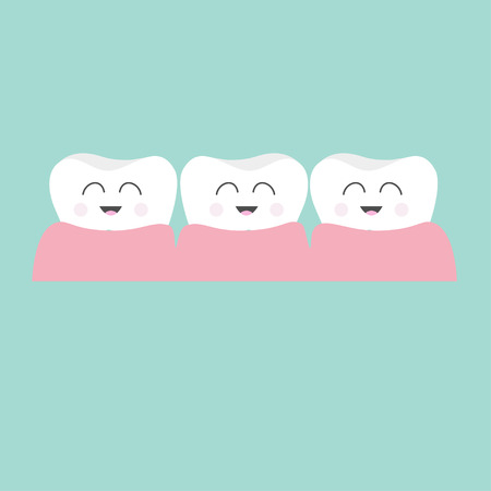 tooth cartoon: Tooth gum icon. Three cute funny cartoon smiling character set. Oral dental hygiene.  Children teeth care. Tooth health. Baby background. Flat design. Vector illustration