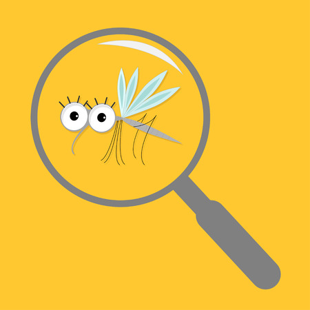 funny baby: Mosquito. Cute cartoon funny character. Insect collection. Baby illustration. Yellow background. Flat design Vector