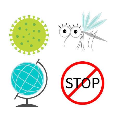 stop mosquito sign: Virus Zika icon set. Mosquito. Cute cartoon insect character. Stop red sign World globe Flat design. Isolated. White background. Vector illustration