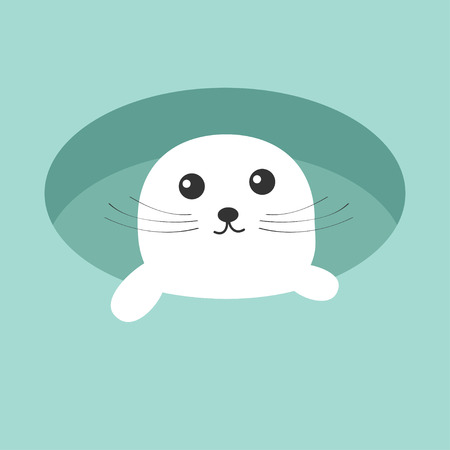 Harp baby seal pup. Ice-hole Cute cartoon character. Blue background. Flat design Vector illustration Illustration