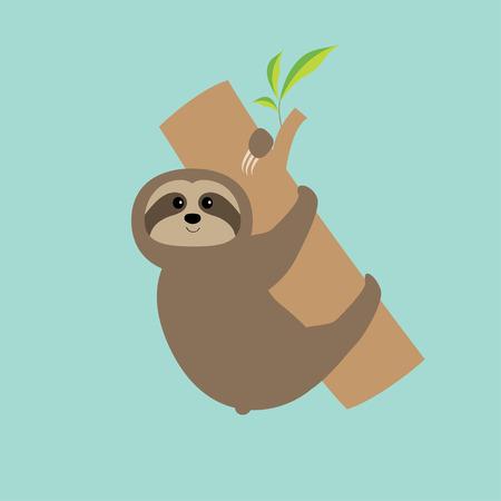 Sloth hugs tree branch. Cute cartoon character.  Wild joungle animal collection. Baby education. Blue background. Flat design  Vector illustration Ilustração
