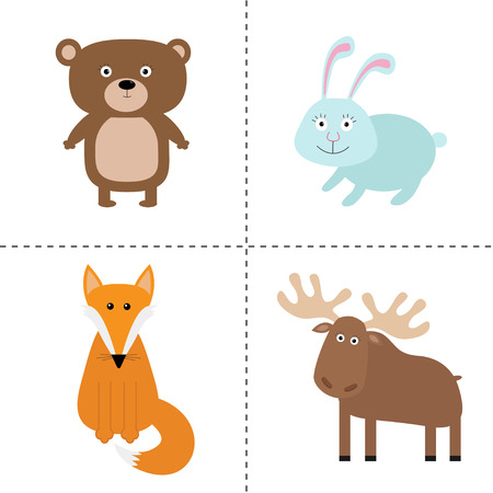 moose: Forest animal set. Bear, hare, fox, moose. Kids education cards. White background. Isolated Flat design Vector illustration Illustration