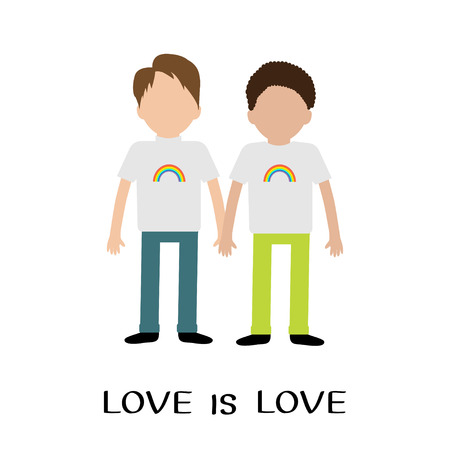 gay family: Gay family. Boy couple. Rainbow on shirt.  Love is love text quote. Greeting card.  LGBT community. Flat design. Vector illustration.
