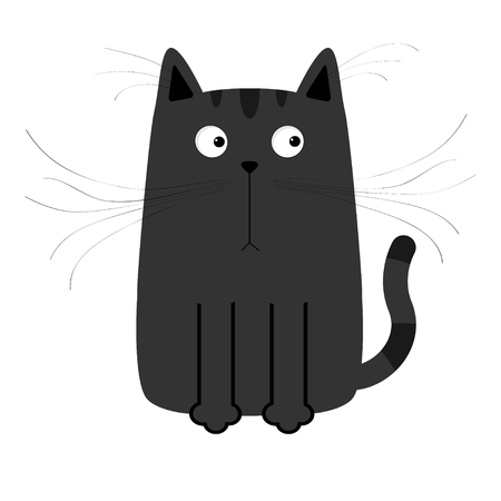 kitten cartoon: Cute black cartoon cat. Big moustache whisker. Funny character. White background. Isolated. Flat design. Vector illustration
