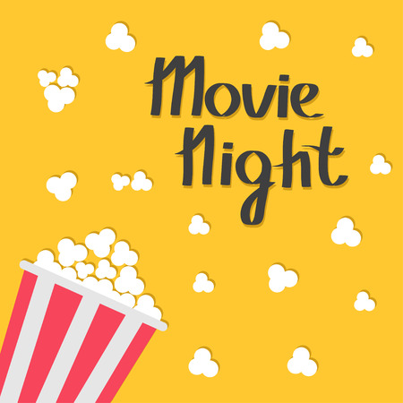blue  red: Popcorn bag. Cinema icon in flat design style. Movie night text with shadow. Lettering. Vector illustration Illustration