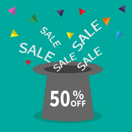 big hat: Magic hat.  50 percent off. Sale background. Big sale. Supersale tag. Special offer. Triangle decor. White text. Flat design. Vector illustration