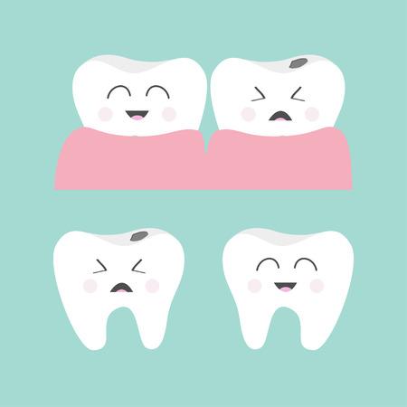 dientes sanos: Conjunto del icono de la goma de diente. diente sonriente sana. El llanto mal diente enfermo de la caries. lindo juego de caracteres. la higiene dental oral. cuidado de los niños los dientes. salud dental. Fondo del bebé. Diseño plano. Vector