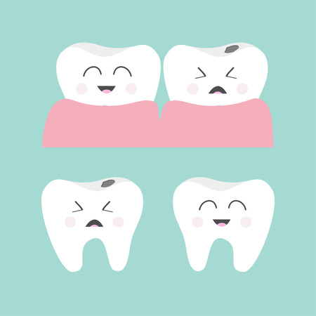 white teeth: Tooth gum icon set. Healthy smiling tooth. Crying bad ill tooth with caries. Cute character set. Oral dental hygiene.  Children teeth care. Tooth health. Baby background. Flat design. Vector