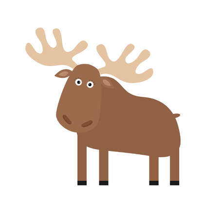 amimal: Moose elk. Cute cartoon funny character. Forest amimal collection. Isolated. White background Vector illustration.