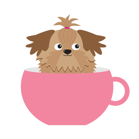 shih tzu: Shih Tzu dog sitting in pink cup. Cute cartoon character. Flat design.  White background.  Vector illustration Illustration