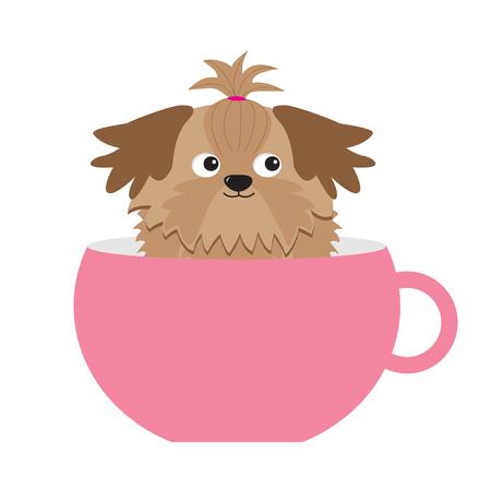 shih: Shih Tzu dog sitting in pink cup. Cute cartoon character. Flat design.  White background.  Vector illustration Illustration