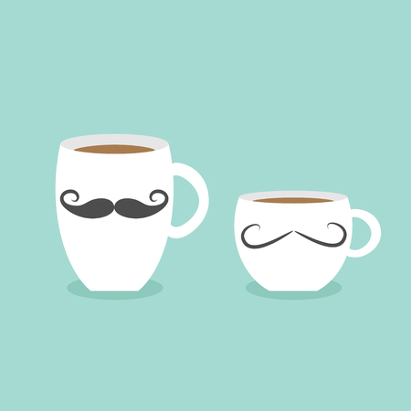 moustaches: Coffee cup mug moustaches and lips. Blue background Flat modern simply design Vector illustration Illustration