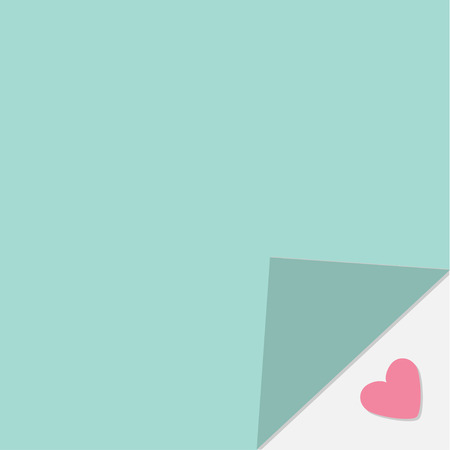 heart under: Adhesive paper note. Heart under corner. Template. Flat design style.  Vector Illustration
