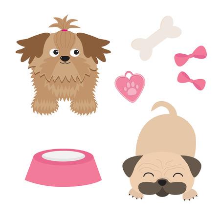 Shih Tzu en Pug mops hond set. Geïsoleerd. Plat ontwerp. vector illustratie