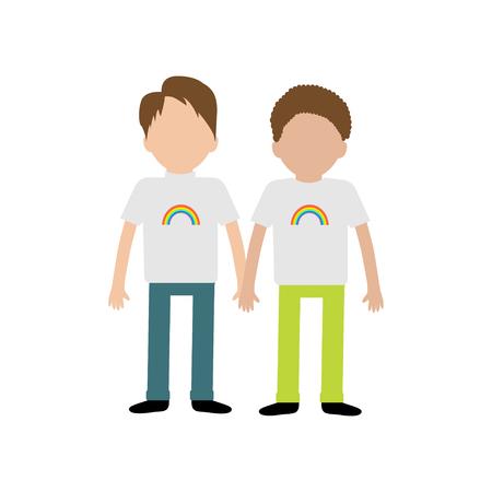 gay family: Gay family. Boy couple holding hands. Rainbow on shirt.  Greeting card.  LGBT community. Flat design. Vector illustration. Illustration