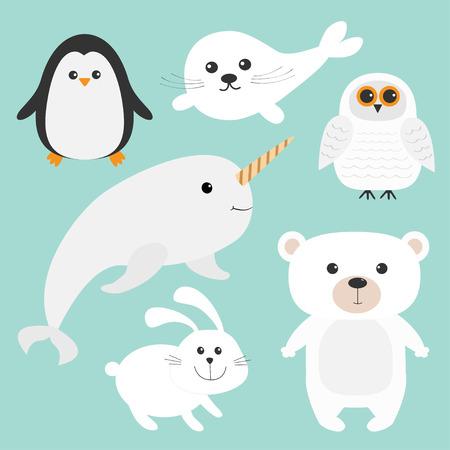Unicorn fish: Arctic polar animal set. White bear, owl, penguin, Seal pup baby harp, hare, rabbit, narwhal, unicorn-fish. Kids education cards. Blue background. Isolated Flat design Vector illustration