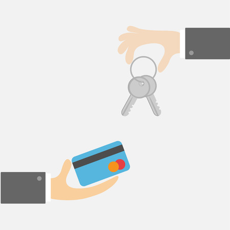 exchanging: Hands with key and money card. Exchanging concept. Flat design style. White background Vector illustration Illustration
