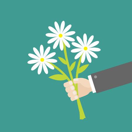 白いデイジーの花の花束を持っているビジネスマンの手。フラットなデザイン。ベクトル図