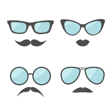 moustaches: Glasses and mustache lips moustaches face icon set.  Isolated White background. Flat design Vector illustration