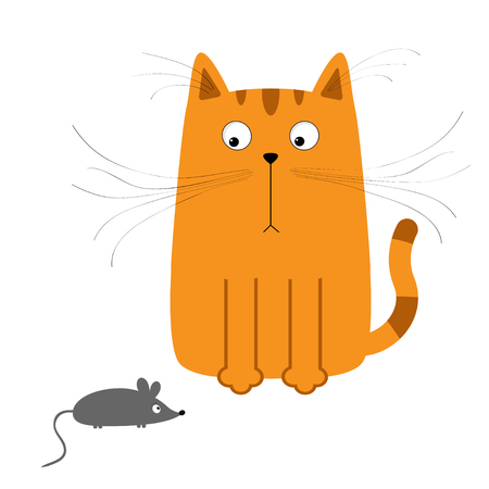Cute red orange cartoon cat looking at mouse. Big mustache whisker. Funny character. Flat design. White background. Isolated. Vector illustration