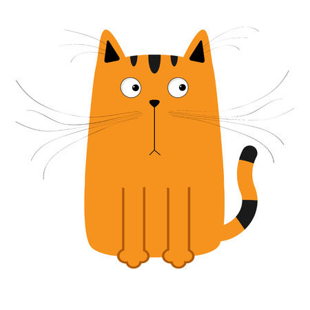 whisker: Cute red orange and black cartoon cat. Big mustache whisker. Funny character. Flat design. White background. Isolated. Vector illustration