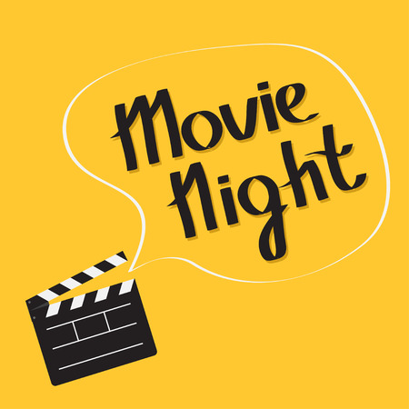 Open movie clapper board with speech bubble Movie night text. Lettering. Flat design style. Vector illustration