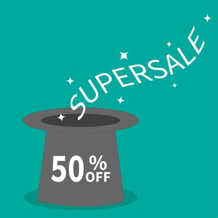 big hat: Magic hat. Supersale tag. Sale background. Big sale. Special offer. 50 percent off. Flat design. Vector illustration