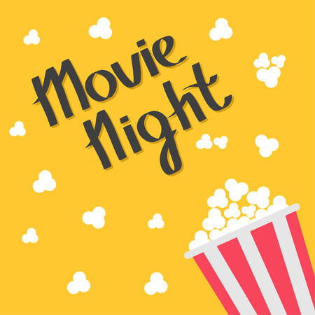 Popcorn bag. Cinema icon in flat design style. Right side. Movie night text. Lettering. Vector illustration