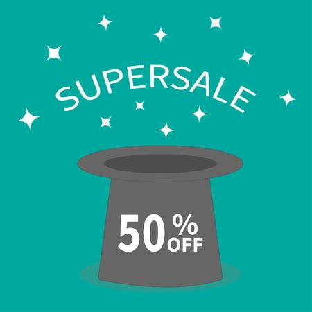 off white: Magic hat.  Supersale tag. Sale background. Big sale. Special offer. 50 percent off. White sparkle stars. Flat design. Vector illustration Illustration