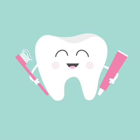 Tooth holding toothpaste and toothbrush. Cute funny cartoon smiling character. Children teeth care icon. Oral dental hygiene. Tooth health. Baby background. Flat design. Vector illustration