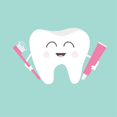 Ząb gospodarstwa pasty do zębów i szczoteczkę do zębów. Śliczne śmieszne kreskówki z uśmiechem. Dzieci do pielęgnacji zębów ikony. Oral higienę jamy ustnej. zdrowia zębów. Dziecko tła. Płaska konstrukcja. ilustracji wektorowych Ilustracje wektorowe