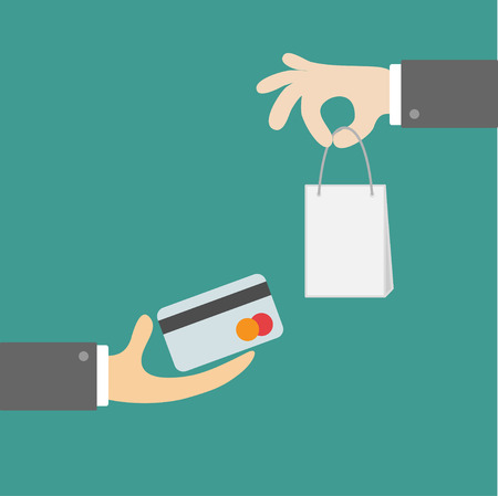 Hands with shopping bag and money card. Exchanging concept. Flat design style. Green background illustration Illustration