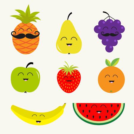 cartoon pineapple: Fruit berry set.  Cartoon character face mustache. Banana, cherry, strawberry orange pineapple, grape, lemon, cherry, mellon, watermellon blueberry apple Isolated Flat illustration