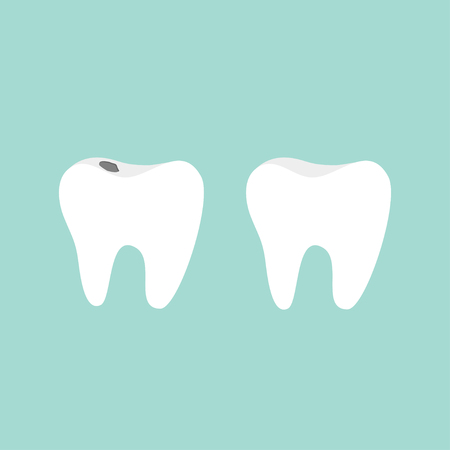 mouth pain: Tooth icon. Healthy and bad ill tooth with caries. Oral dental hygiene.  Children teeth care. Tooth health. Blue background. Flat design. illustration