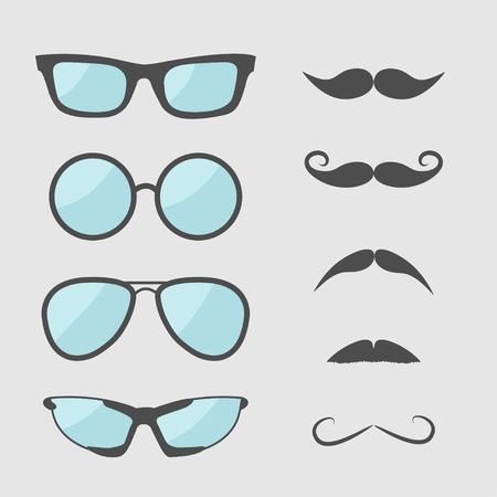 moustaches: Glasses and mustache moustaches icon set. Isolated White background. illustration