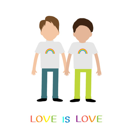 gay family: Gay family. Boy couple holding hands. Rainbow on shirt.  Love is love text quote. Greeting card.  LGBT community. Flat design. illustration.