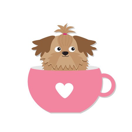 shih tzu: Shih Tzu dog sitting in pink cup with heart. Cute cartoon character. Flat design.  White background. Illustration