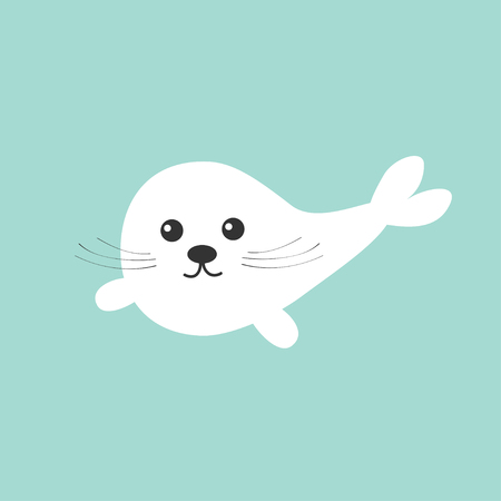pup: Harp baby seal pup with mustaches.  Cute cartoon character. Blue background. Flat design illustration
