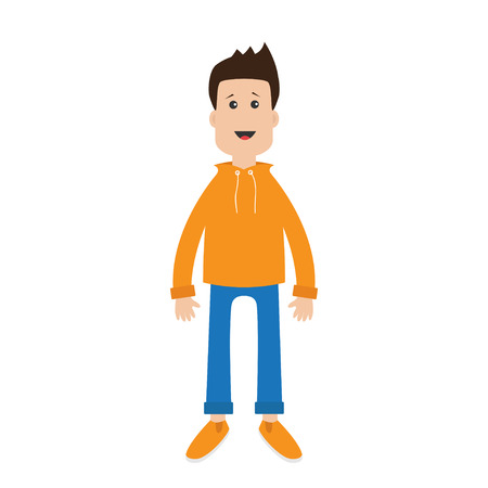 cute guy: Funny cartoon guy Cute boy character.  Casual dress style Surprise emotion. Isolated White background. Flat design Vector illustration Illustration
