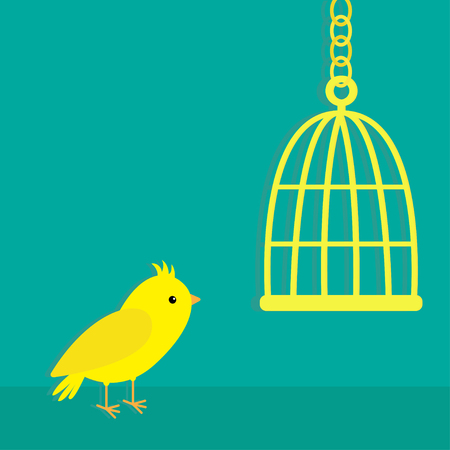 birdcage: Yellow canary bird. Golden birdcage cell. Green background. Flat design style. Vector illustration