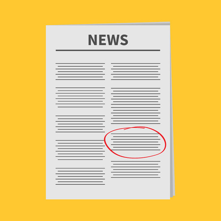 mark pen: Newspaper icon Red pen skrible mark Flat design Isolated Yellow background White background Vector illustration