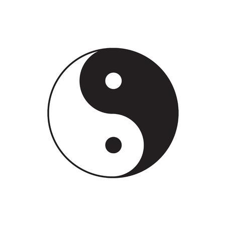 karma design: Yin Yang sign icon.  Feng shui symbol. White and black. Isolated Flat design Vector illustration Illustration