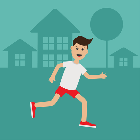 cardio workout: Cartoon running guy Night summer time. House, tree silhouette.  Cute run boy Jogging man Runner outside Fitness cardio workout Running male character Flat design Vector illustration Illustration