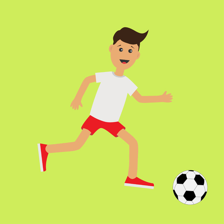 cute guy: Funny cartoon running guy with soccer ball.  Football player. Cute run boy Jogging man Runner Fitness workout running male character  Green background. Flat design Vector illustration